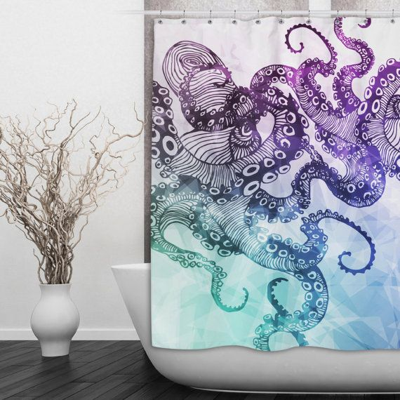 Watercolor Octopus Shower Curtain  Beautiful Blue by InkandRags