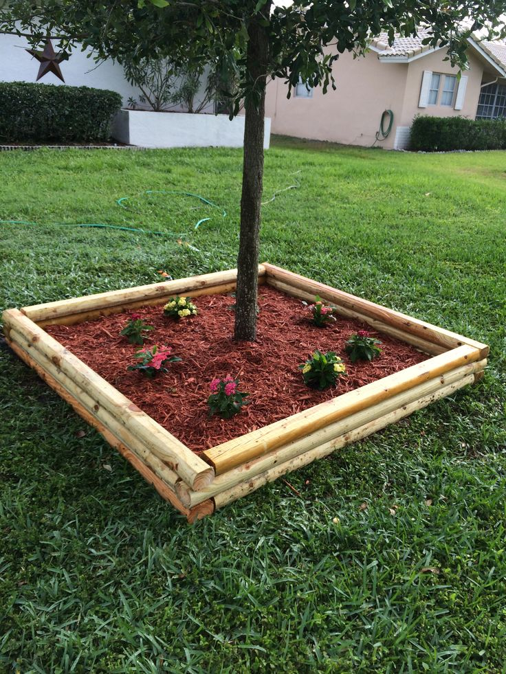 Landscape Timber Box For Tree And Flowers Gardening