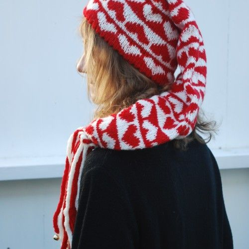 Knitted Christmas hat with bells