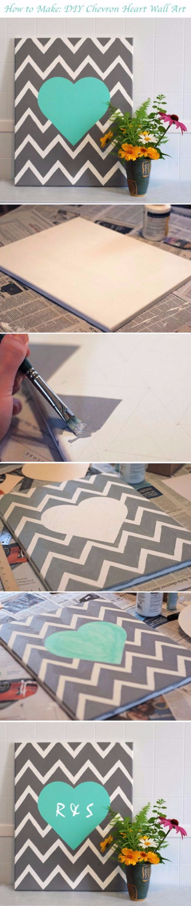 DIY Canvas Painting Ideas - DIY Chevron Heart - Cool and Easy Wall Art Ideas You Can Make On A Budget - Creative Arts and Crafts Ideas for Adults and Teens - Awesome Art for Living Room, Bedroom, Dorm and Apartment Decorating http://diyjoy.com/diy-canvas-painting #artsandcraftsgifts,
