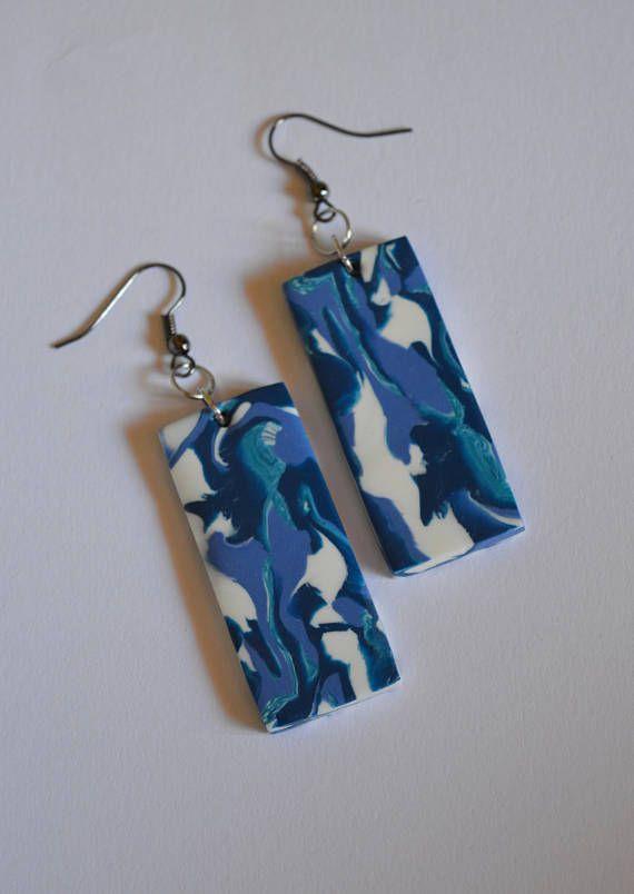 Blue geometric earrings Rectangular blue white earrings Marble