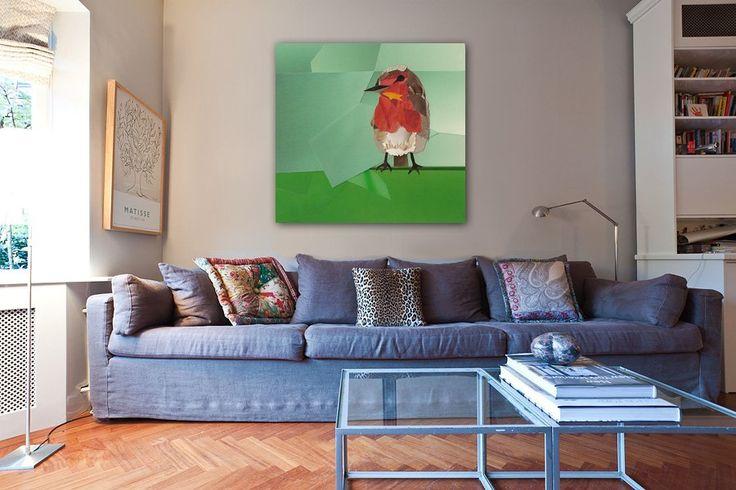 Robin (Roodborstje) aan de muur