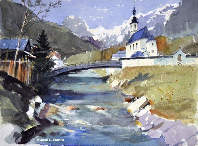 Paisaje En Baviera Bavarian Landscape Paisajes Acuarela Arte De Acuarela Pinturas