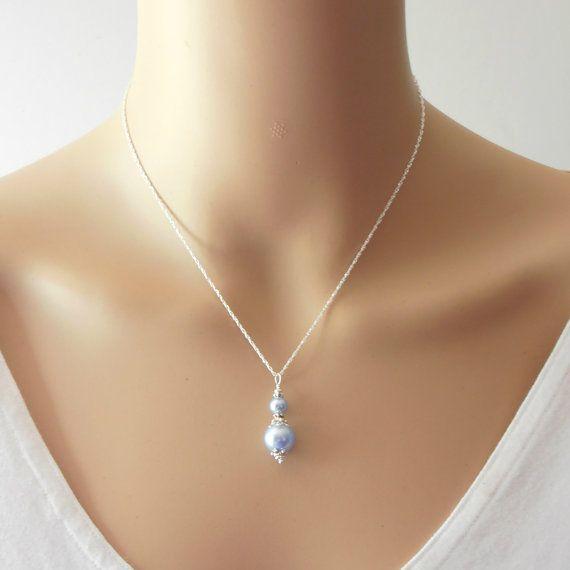 Light Blue Bridesmaid Necklaces Pale Blue by FiveLittleGems