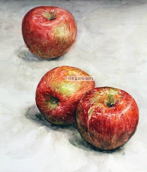 사과수채화. 사과 과정작 예중예고 대입 순수회화 입시미술학원- 아트길-