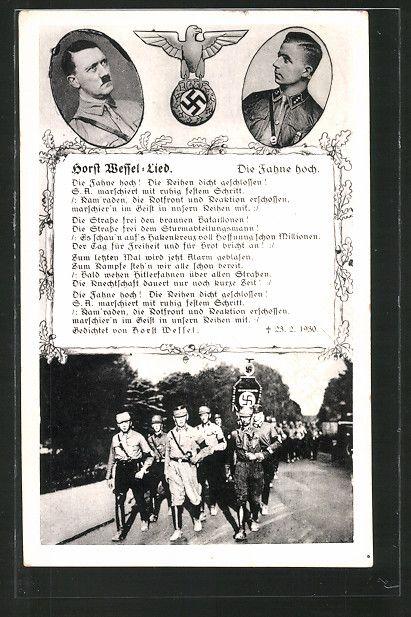 old postcard: AK Horst Wessel-Lied, Porträt von Horst Wessel und Führer Adolf…