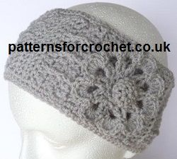 Free earwarmer/headband crochet pattern - includes the flower and covered button patterns.