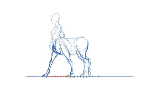 clockadile:  I'm a little late to the draw a centaur day thing, but here we go. First pass walk cycle. Experimented with a few things. Need to fix 20 things like that foot that's sticking and a few weird jumps and some offset and a weird cushion… I'll just shut up now.