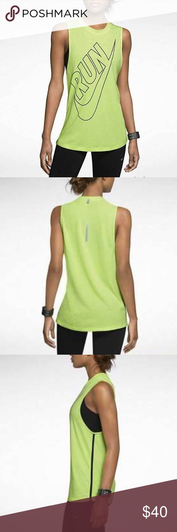 Nike Womens Dri Fit Tailwind Loose Tank Top Volt Color: Volt. Material: 85% Polyester/15% Cotton. Nike Tops Tank Tops