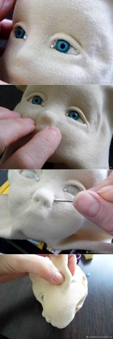 Как обклеить трикотажем голову текстильной куклы - Ярмарка Мастеров - ручная работа, handmade