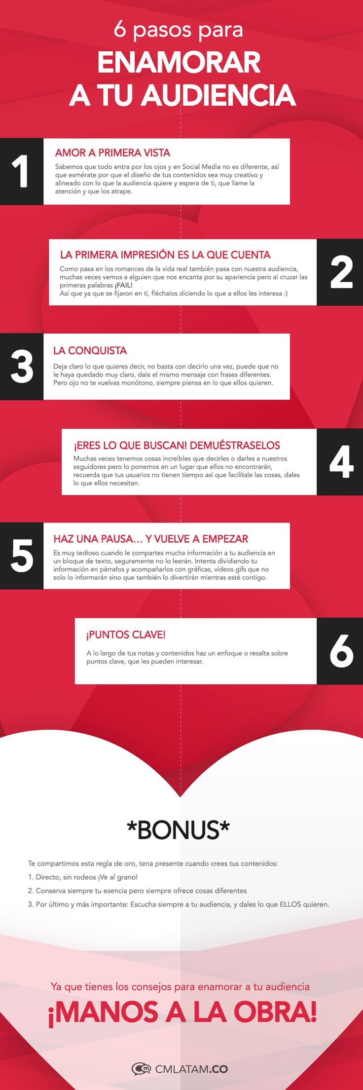Enamora a tu audiencia en 6 pasos. #Infografía