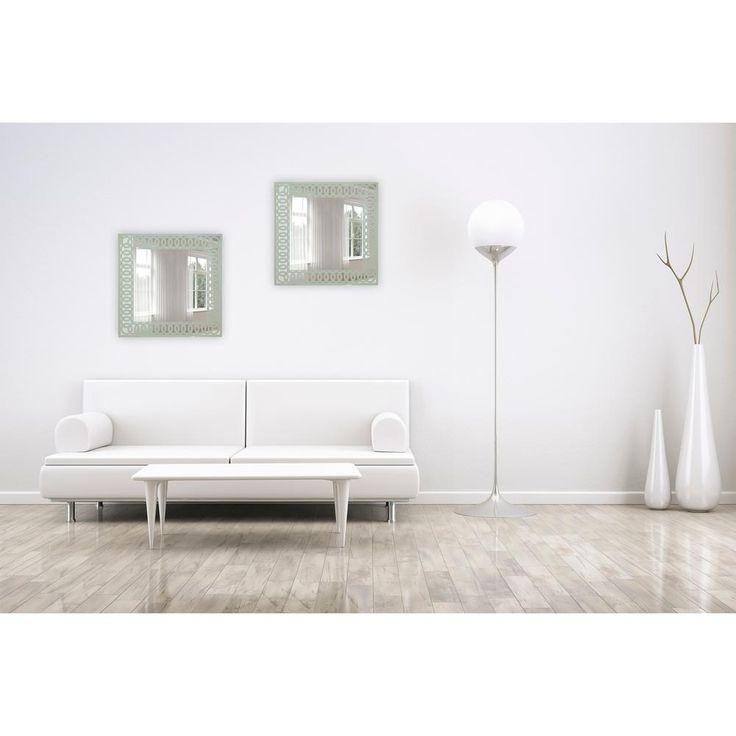 24 in. x 24 in. Frameless Mirror in Silk Screened Light Sage Green Pattern Embedded Border