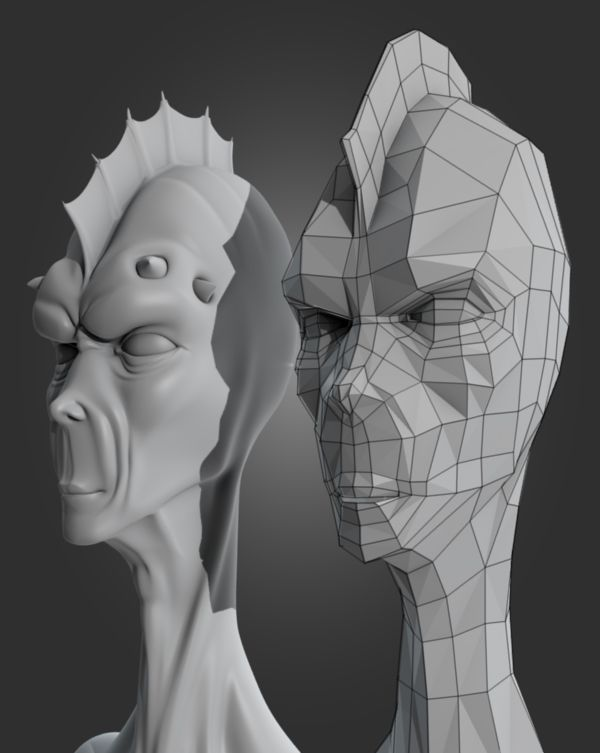 Blender Character Modeling Tutorial Beginner : Re topologize a game ready alien head in blender