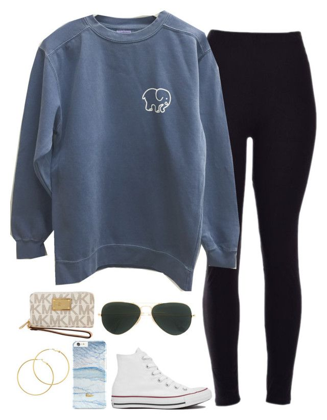 """""""sos"""" by kendracarpenter ❤ liked on Polyvore featuring beauty, Converse, Ray-Ban, Melissa Odabash and Michael Kors"""
