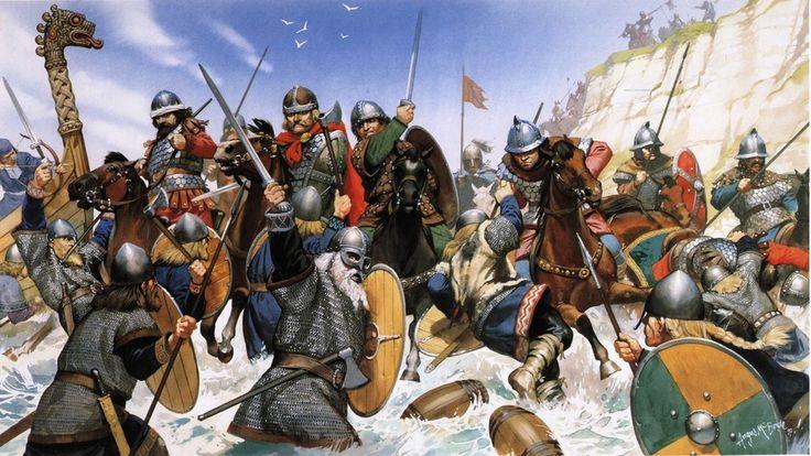 ix век, арт, викинги, щиты, англосаксы, копья, бой, мечи фото