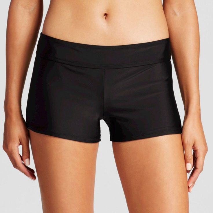 Women's Swim Boyshort - Black Licorice - XL - Merona