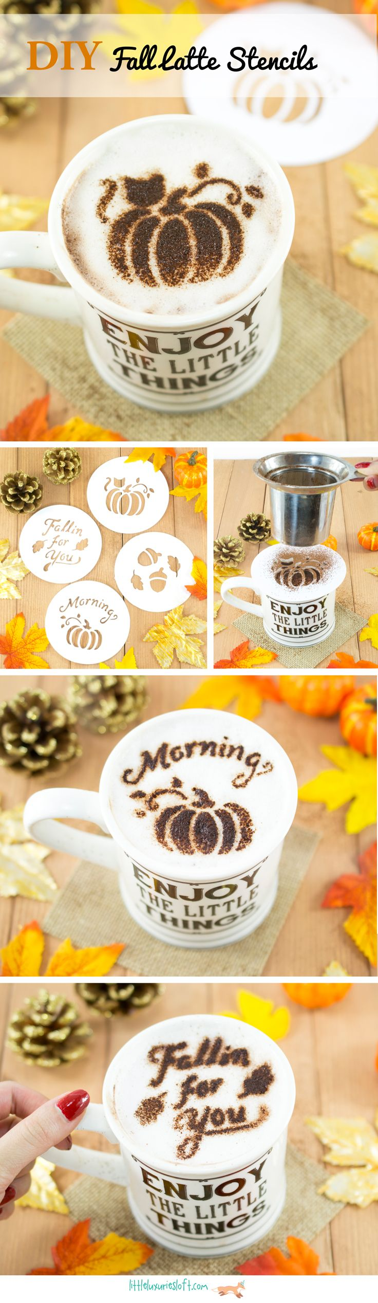 Make these festive fall latte stencils! Free SVG and JPEG files available so you can make them with a Silhouette Cameo or by hand! Full Tutorial on the Little Luxuries Loft Blog
