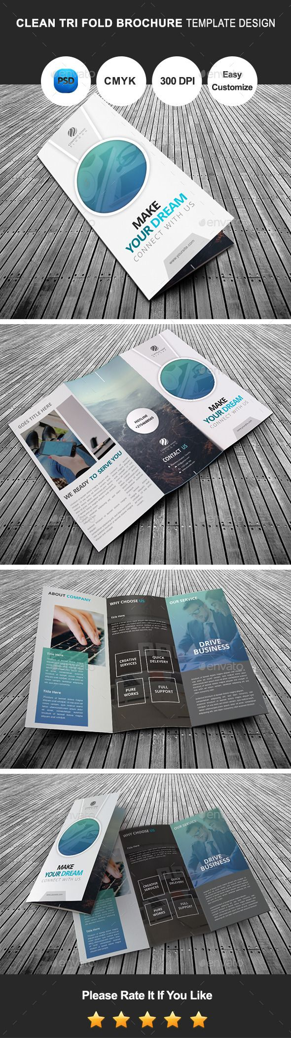 Clean Tri Fold Brochure Template Design  — PSD Template • Only available here ➝…