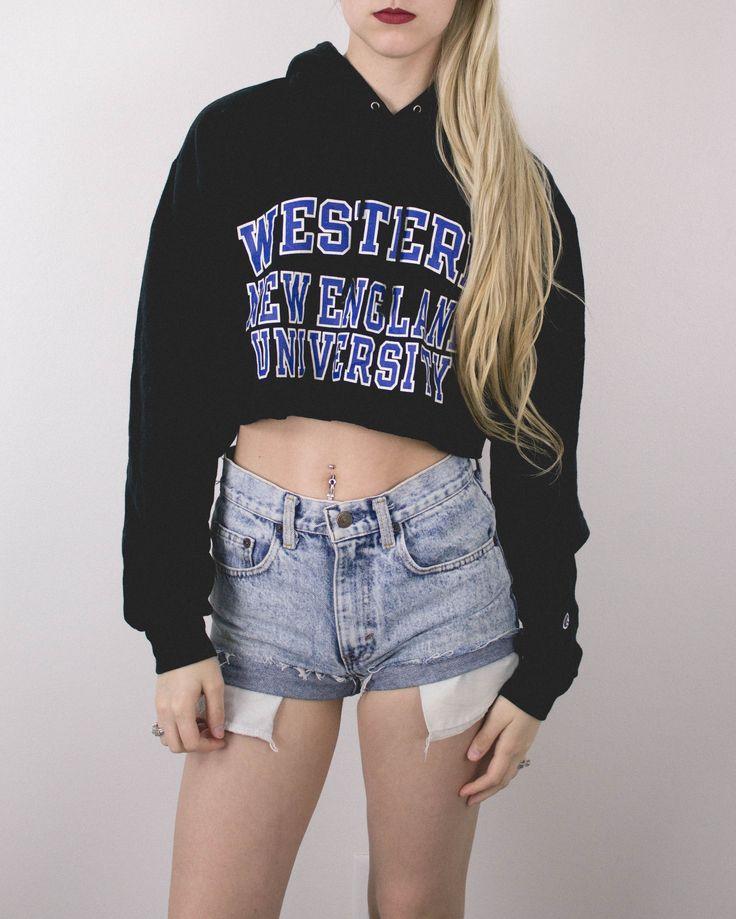 Vintage Western New England University College Cropped Hoodie Sweatshirt