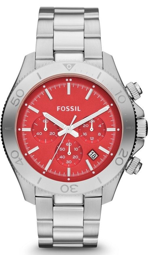 Fossil Watches, Men's Retro Traveler Chronograph Stainless Steel Watch #CH2866