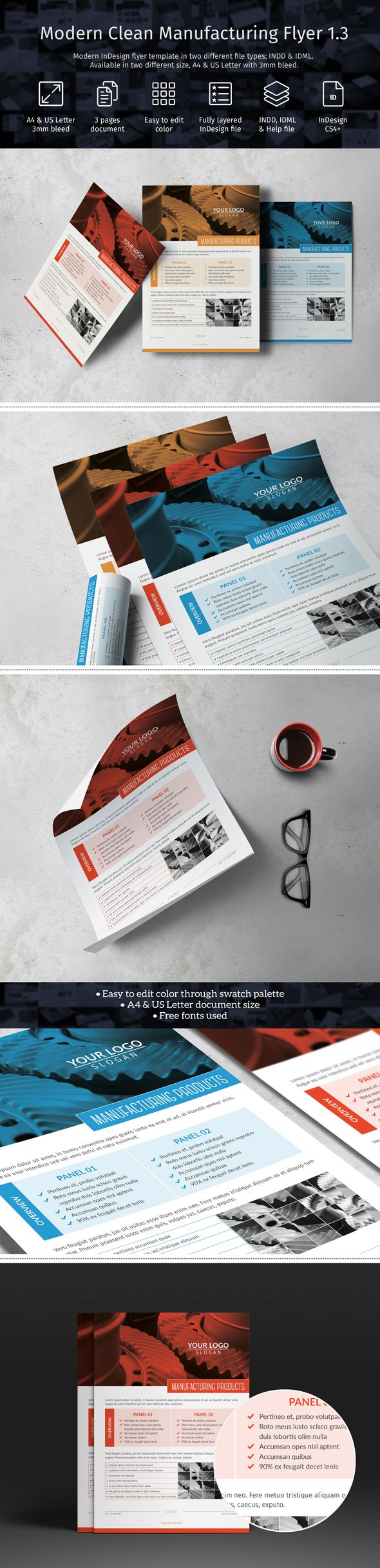 Modern manufacturing flyer template in two different file types; INDD & IDML. Template available in A4 & US Letter size with 3 mm bleed. Compatible with Adobe InDesign CS4 or higher [goo.gl/gXpmpX].