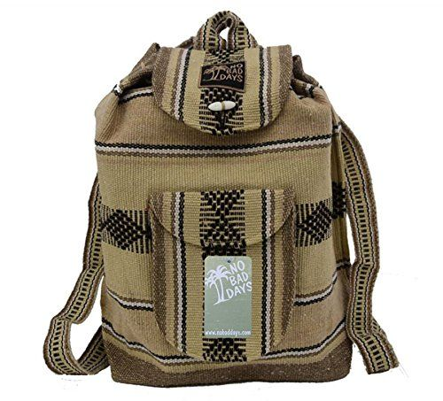 Baja Backpack Ethnic Woven Mexican Bag - Oatmeal Tan Brown - Medium >>> Click image for more details. (This is an Amazon Affiliate link and I receive a commission for the sales)