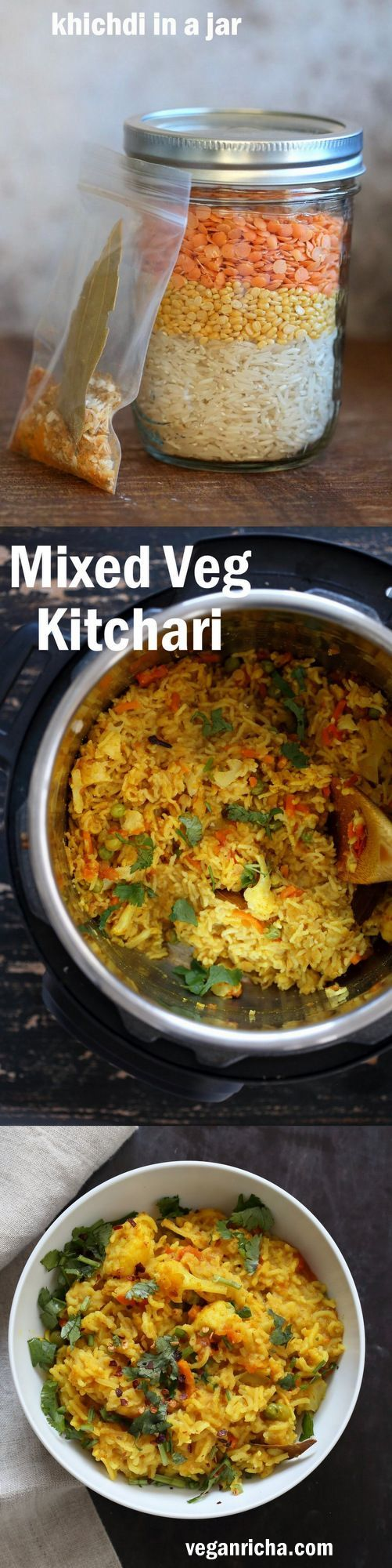 Khichdi in a Jar - Mixed Vegetable Kitchari Mix for Instant Pot or Saucepan. Spiced Risotto like Dish. Easy Lentil Rice Soup with Veggies. Gift the jar full of lentils, rice and spices. Empty into a pot with veggies of choice. Easy Weekday Dinner. Vegan Gluten-free Soy-free Nut-free Recipe. #vegan #veganricha