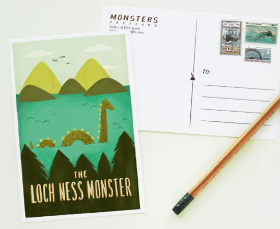 Illustrated Stationery by Quill and Fox via Oh So Beautiful Paper (2): Monsters Postcards, Loch Monsters, Postcards 1Pc, Lochness, Illustrations Stationery, Loch Ness Monsters, Postcards Sets, Foxes, Loch Postcards