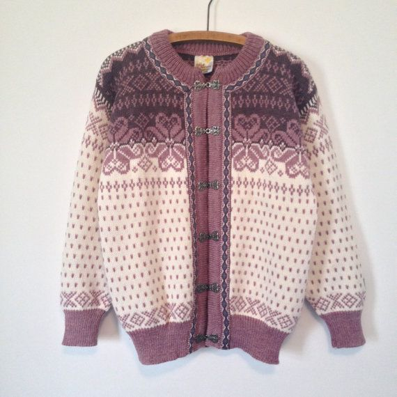 vintage dale of norway dusty rose cardigan by vintspiration, $74.00