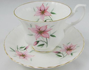 Royal Albert Tea Cup and Saucer with Pink Flowers, Vintage Bone China