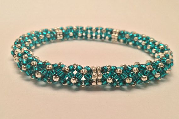 Beaded Chenille Stitch Bangle Bracelet-Teal and Silver,mom, mother, wife, friend – Christmas, Anniversary, Birthday gift for girlfriend