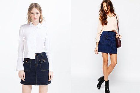 Velké čtvercové přední kapsy dodávají sukni retro nádech. Který model vás zaujal více? Na foto (zleva): Zara, 799 Kč a Neon Rose, 762 Kč (původně 953 Kč); archiv firem