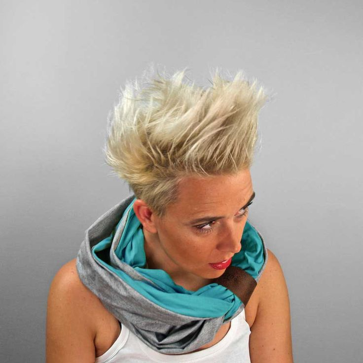 INFINITY SCARF circle tube scarves turquoise and gray viscose shawl with two leather buttons Great Gift for Her by PurolDesignBags on Etsy #infinityscarf #tubescarf #schawl #turquoise