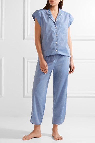 Three J NYC - Poppy Embroidered Cotton-poplin Pajama Set - Blue