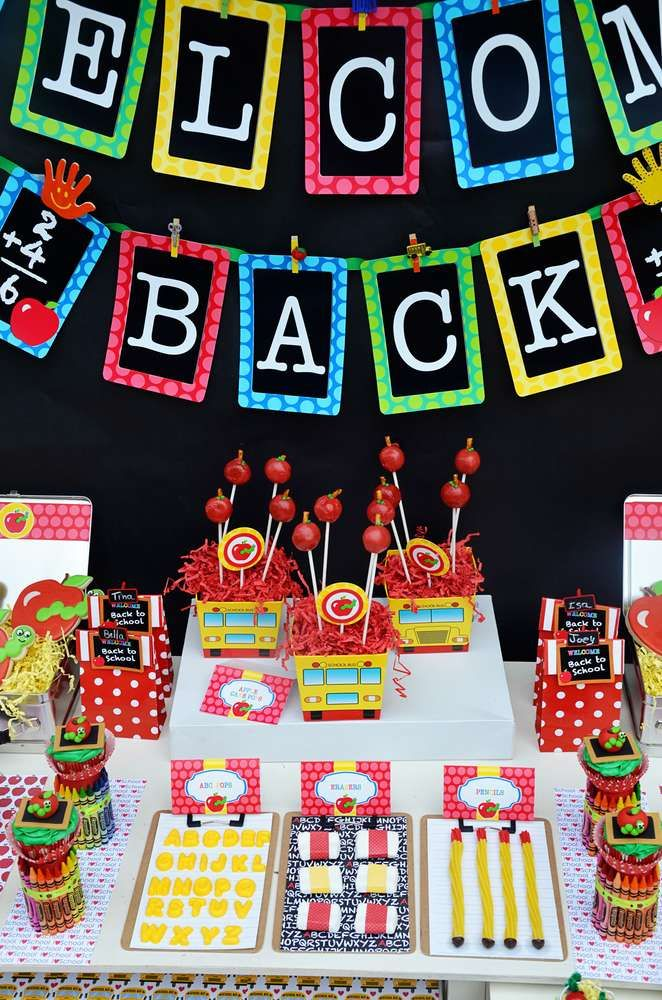 apples, bookworm Back to School Party Ideas | Photo 24 of 40