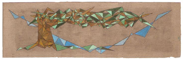 Allegoria (1) dell'umana condizione. Arte Pittura Acrilico su sacco di juta usato. cm 220 x 70