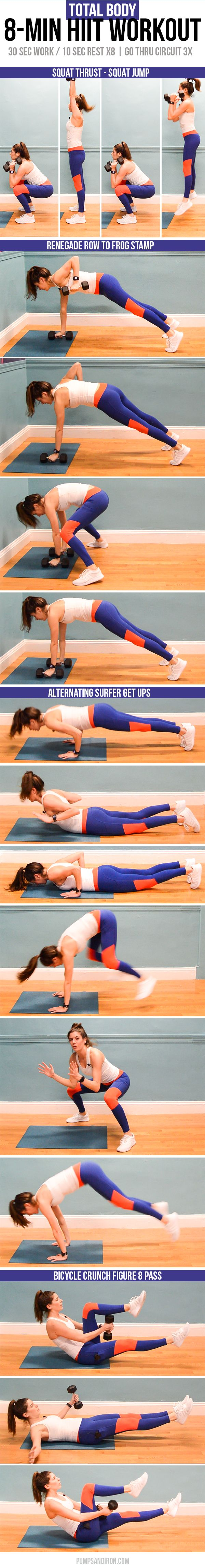8-Min HIIT Workout   All you need is a set of weights for this quick full-body interval workout (video included)