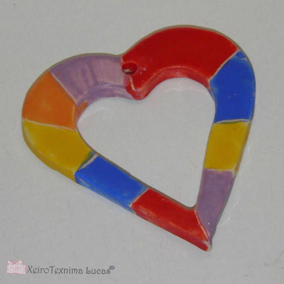 Handmade Ceramic Tile Hearts 8cm 3 Rainbow Color