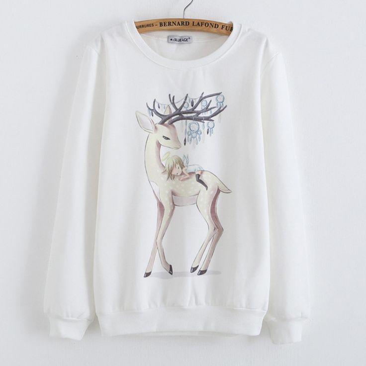 Barato 2015 outono inverno reunindo camisola mulheres bonito Animal dos desenhos…