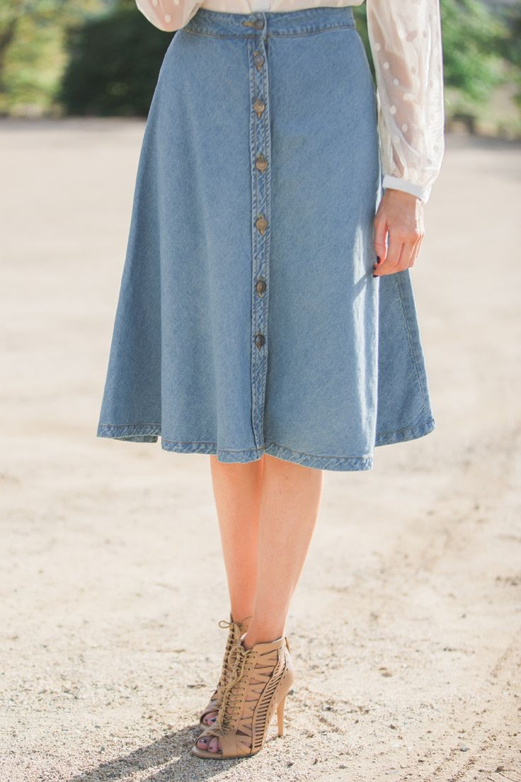 Denim midi skirt, fall fashion, A line skirt, button front, fashion staple pieces, Morning Lavender, casual outfit ideas