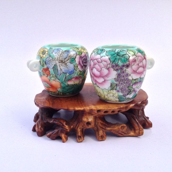 Vintage Chinese Porcelain   Bird Feeder and by BluePearEmporium