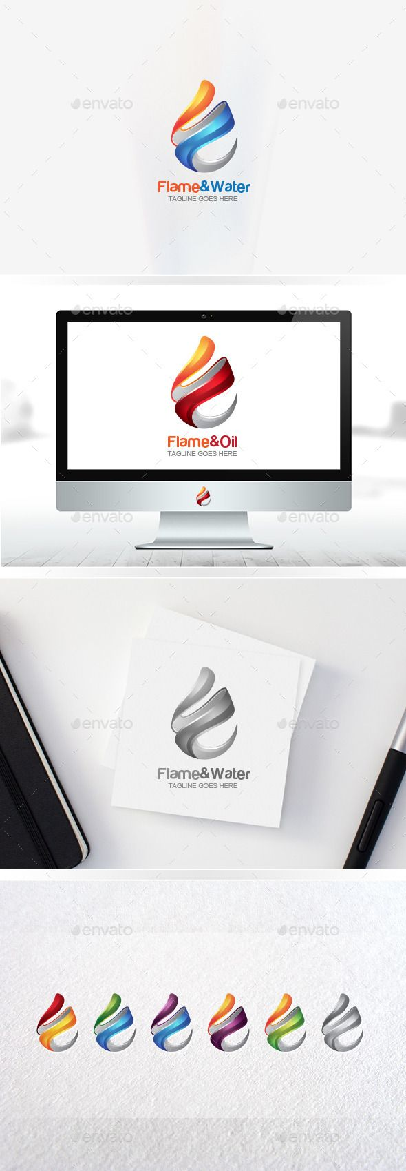 Flame Logo / Water Drop / Oil Logo / Fire Logo / 3D Logo Templates