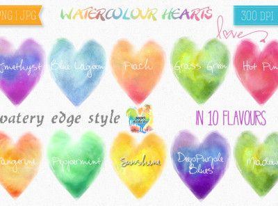 WATERCOLOUR HEARTS CLIP ART- DESIGN SET #valentine #valentine hearts #valentine clip art #valentine printables