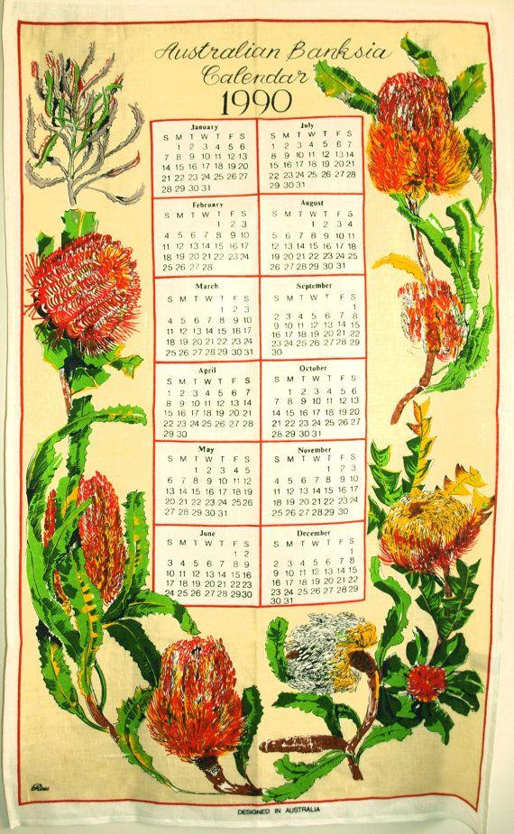 Australian Banksia 1990 Calendar Souvenir Tea Towel  by FunkyKoala