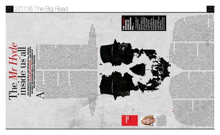 Newspaper design. Layout. Evil within. Magazine. Typography