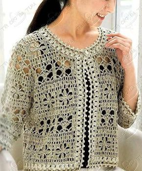 Crocheter beige cardigan ♥LCT-MRS♥ with diagrams.