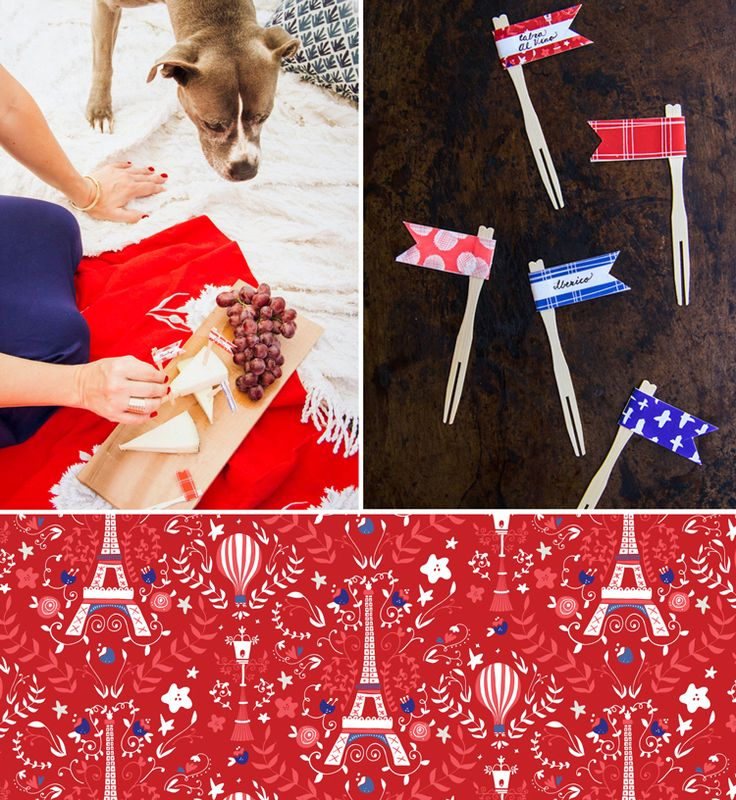 Free French inspired picnic party printables from www.verysarie.com. Perfect for Bastille Day parties! food flags for keeping all your cheese straight!