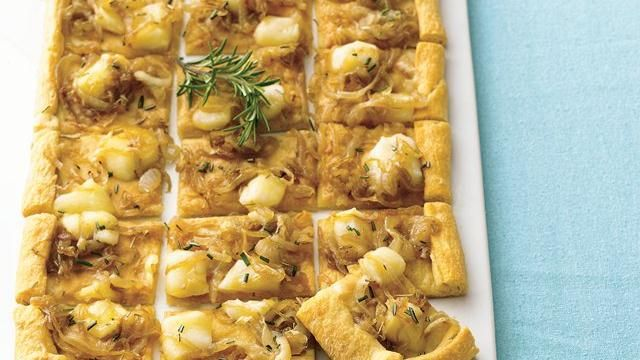 ONION AND HERB TART                  Snips of dill, melted brie, and caramelized onions atop a crust of refrigerated crescent dinner rolls make a terrific topping for this appetizer.