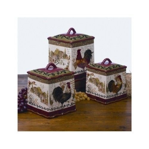 Superb Hand Painted Kitchen Canister Set Rooster Coffee 3 Piece Airtight Storage  Sugar   Canisters U0026 Jars