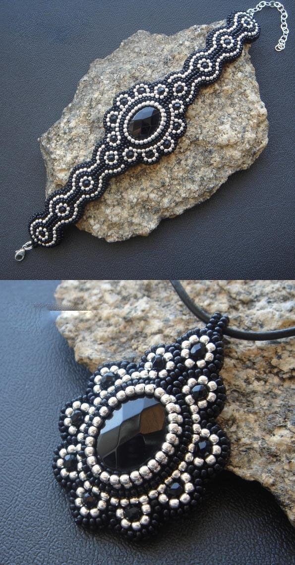 .armbånd med cabochon i sort - hvid smukt